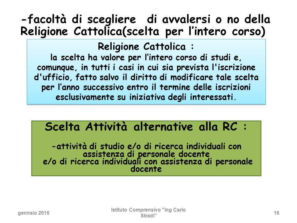 -facoltà di scegliere di avvalersi o no della Religione Cattolica(scelta per l'intero corso)  gennaio 2015 Istituto Comprensivo