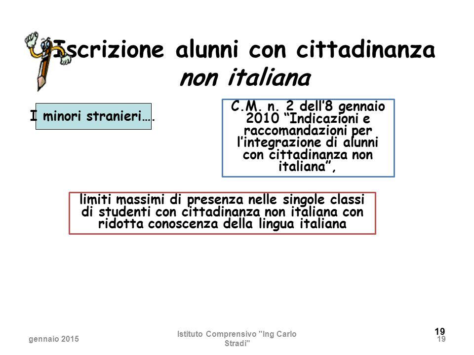 19 Iscrizione alunni con cittadinanza non italiana I minori stranieri…. gennaio 2015 Istituto Comprensivo