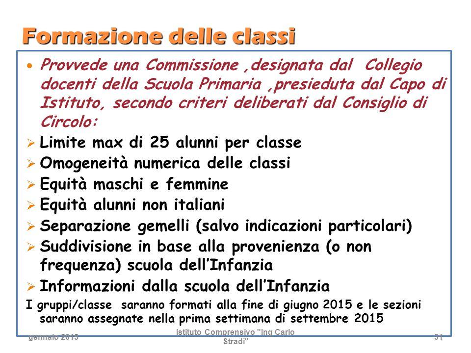 Formazione delle classi Provvede una Commissione,designata dal Collegio docenti della Scuola Primaria,presieduta dal Capo di Istituto, secondo criteri