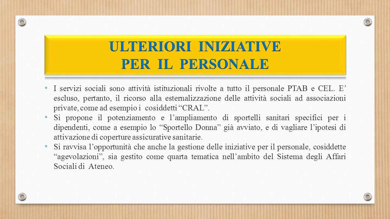 I servizi sociali sono attività istituzionali rivolte a tutto il personale PTAB e CEL.