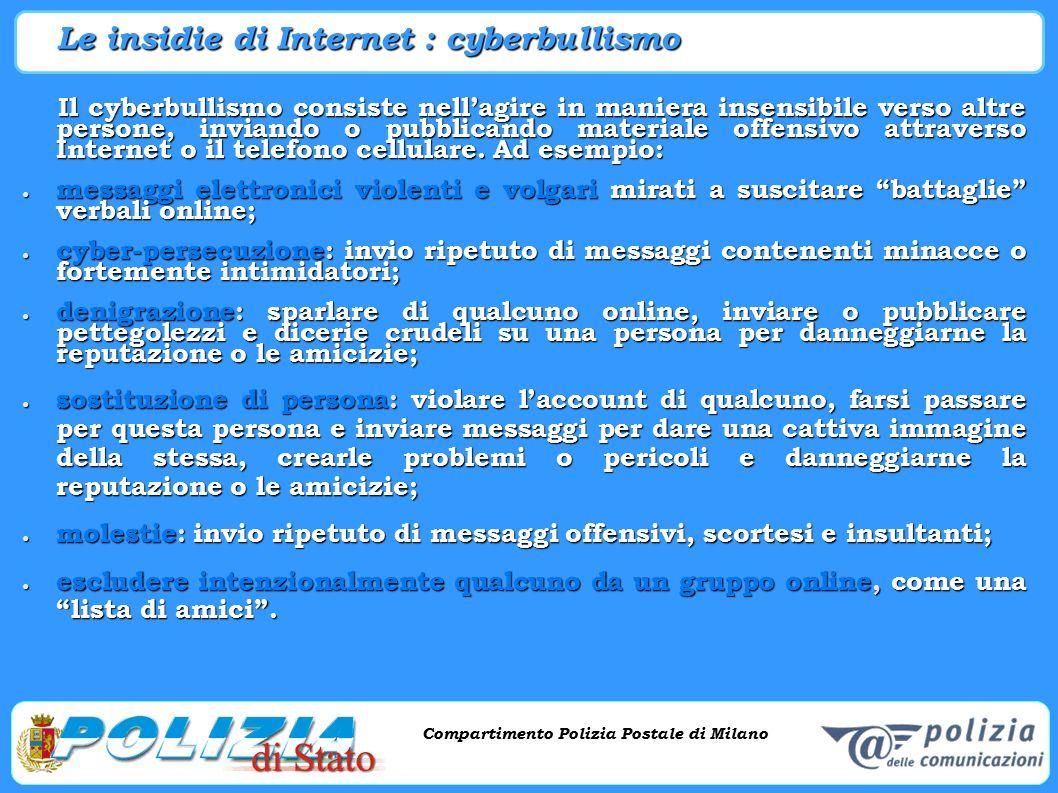 Compartimento Polizia Postale di Milano Phishing e criminalità informatica Compartimento Polizia Postale di Milano Le insidie di Internet : cyberbulli