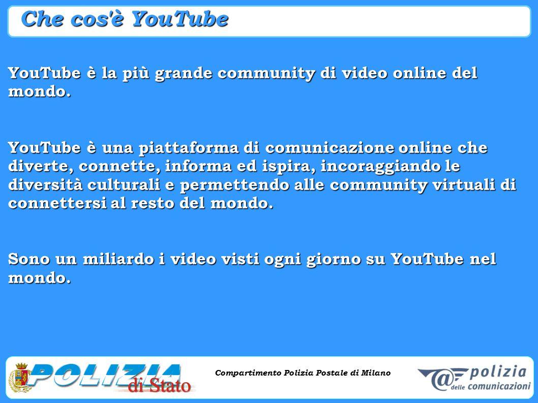 Compartimento Polizia Postale di Milano Phishing e criminalità informatica Compartimento Polizia Postale di Milano Che cos'è YouTube YouTube è la più