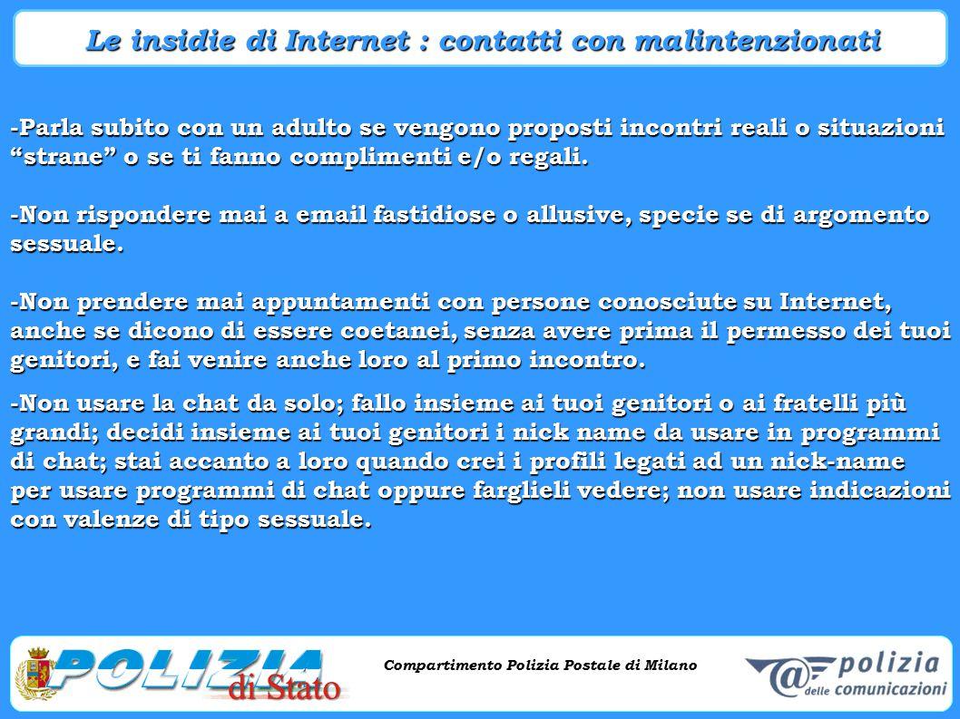 Compartimento Polizia Postale di Milano Phishing e criminalità informatica Compartimento Polizia Postale di Milano -Parla subito con un adulto se veng