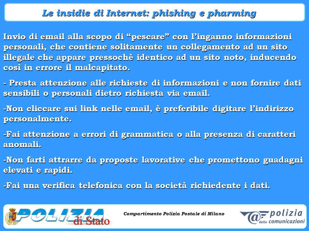 """Compartimento Polizia Postale di Milano Phishing e criminalità informatica Compartimento Polizia Postale di Milano Invio di email alla scopo di """"pesca"""