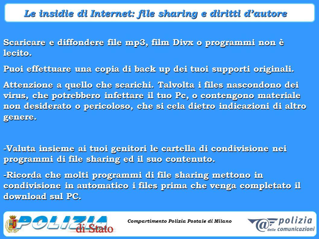 Compartimento Polizia Postale di Milano Phishing e criminalità informatica Compartimento Polizia Postale di Milano Scaricare e diffondere file mp3, fi