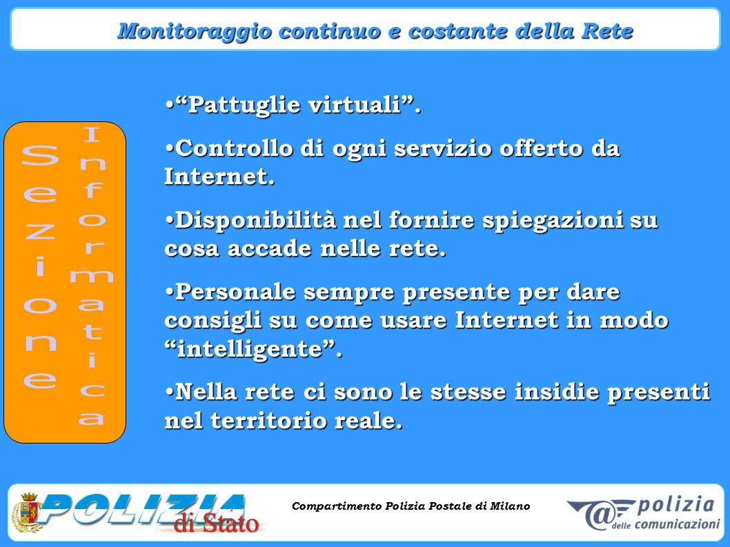 Compartimento Polizia Postale di Milano Phishing e criminalità informatica Compartimento Polizia Postale di Milano Contenuti inadeguati Contenuti inadeguati Violenza Violenza Fanatismo Fanatismo Pornografia Pornografia ecc.