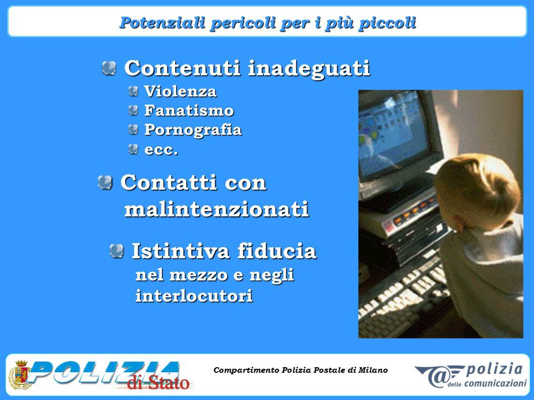 Compartimento Polizia Postale di Milano Phishing e criminalità informatica Compartimento Polizia Postale di Milano Contenuti inadeguati Contenuti inad