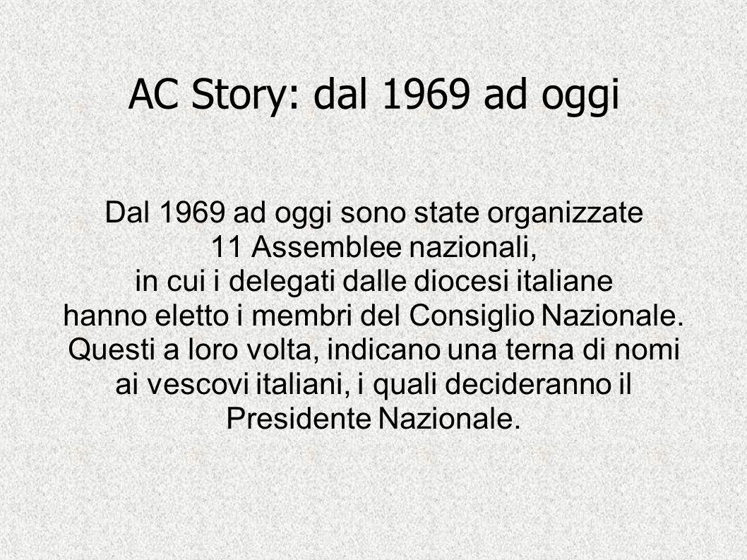 AC Story: dal 1969 ad oggi Dal 1969 ad oggi sono state organizzate 11 Assemblee nazionali, in cui i delegati dalle diocesi italiane hanno eletto i mem
