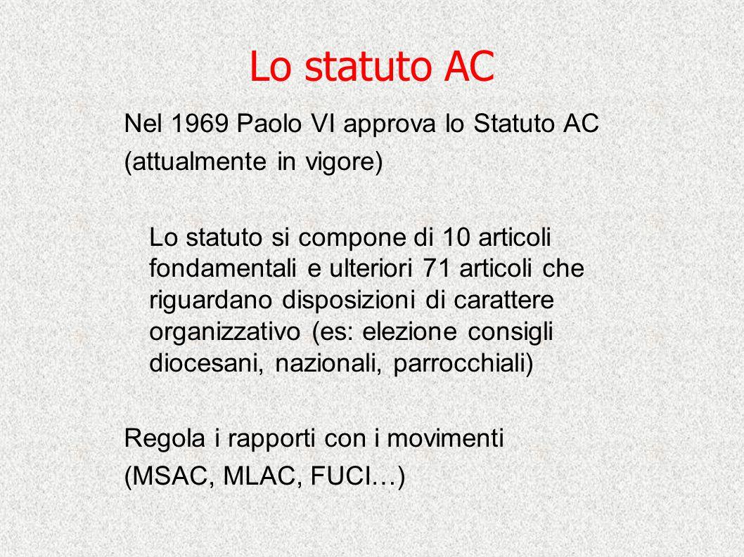 Lo statuto AC Nel 1969 Paolo VI approva lo Statuto AC (attualmente in vigore) Lo statuto si compone di 10 articoli fondamentali e ulteriori 71 articol