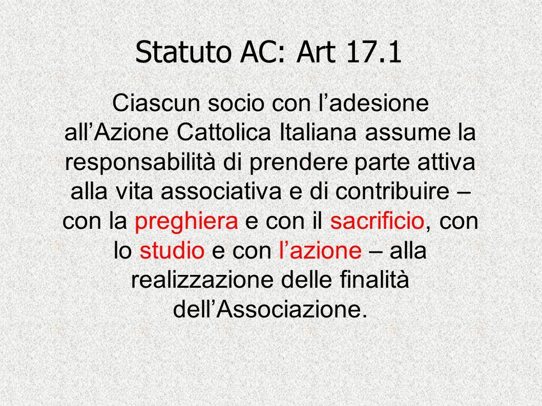 Statuto AC: Art 17.1 Ciascun socio con l'adesione all'Azione Cattolica Italiana assume la responsabilità di prendere parte attiva alla vita associativ
