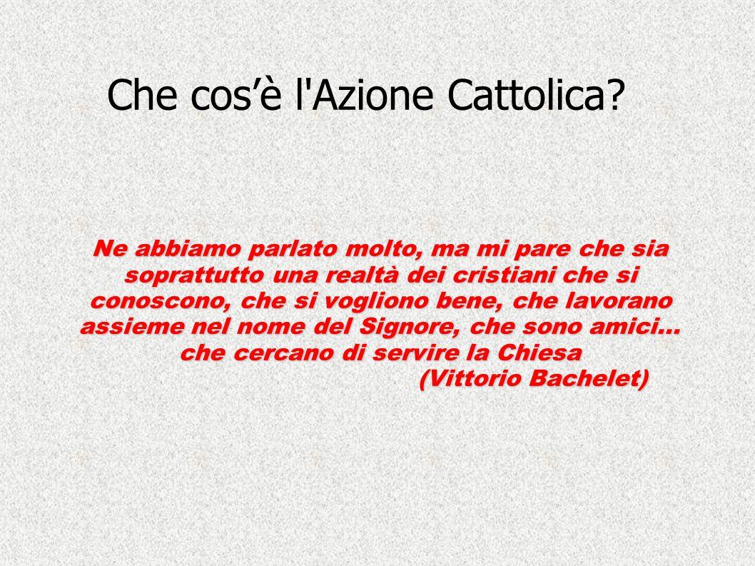 Che cos'è l'Azione Cattolica? Ne abbiamo parlato molto, ma mi pare che sia soprattutto una realtà dei cristiani che si conoscono, che si vogliono bene