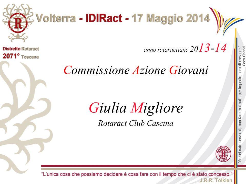anno rotaractiano 20 13-14 Commissione Azione Giovani Giulia Migliore Rotaract Club Cascina