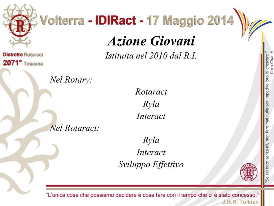 Azione Giovani Istituita nel 2010 dal R.I. Nel Rotary: Rotaract Ryla Interact Nel Rotaract: Ryla Interact Sviluppo Effettivo