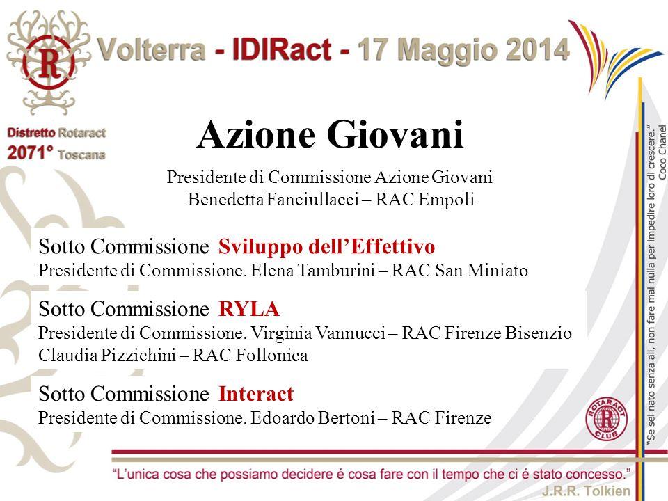 Azione Giovani Presidente di Commissione Azione Giovani Benedetta Fanciullacci – RAC Empoli Sotto Commissione Sviluppo dell'Effettivo Presidente di Co