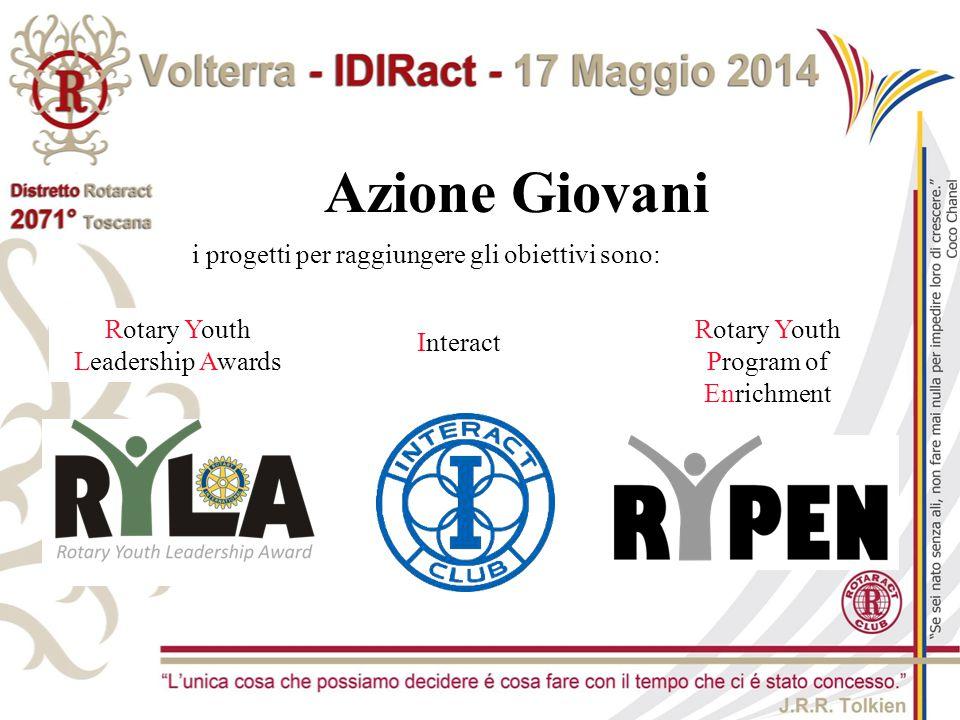 Rotary Youth Leadership Awards Interact Rotary Youth Program of Enrichment Azione Giovani i progetti per raggiungere gli obiettivi sono: