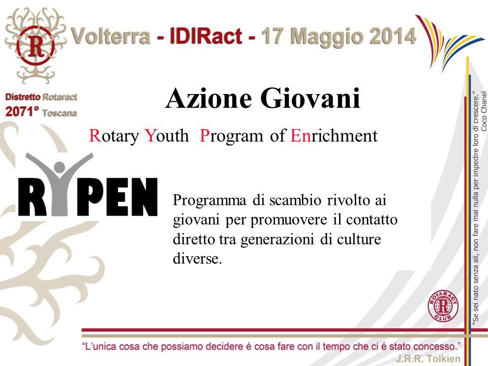 Rotary Youth Program of Enrichment Azione Giovani Programma di scambio rivolto ai giovani per promuovere il contatto diretto tra generazioni di cultur