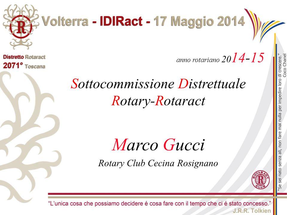 anno rotariano 20 14-15 Sottocommissione Distrettuale Rotary-Rotaract Marco Gucci Rotary Club Cecina Rosignano