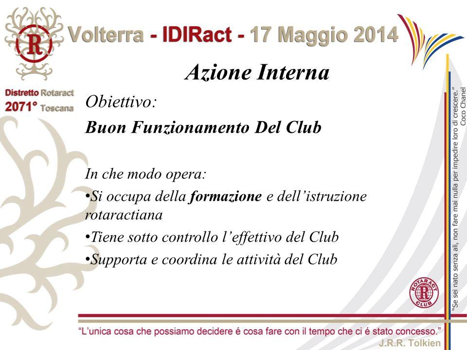 Azione Interna Obiettivo: Buon Funzionamento Del Club In che modo opera: Si occupa della formazione e dell'istruzione rotaractiana Tiene sotto control