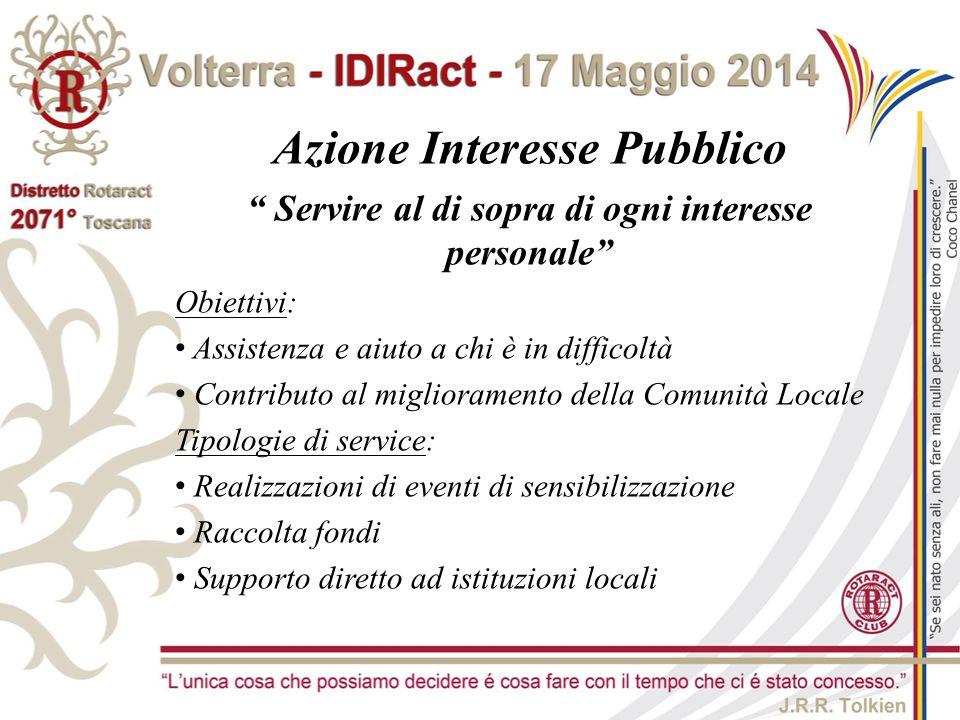 """Azione Interesse Pubblico """" Servire al di sopra di ogni interesse personale"""" Obiettivi: Assistenza e aiuto a chi è in difficoltà Contributo al miglior"""