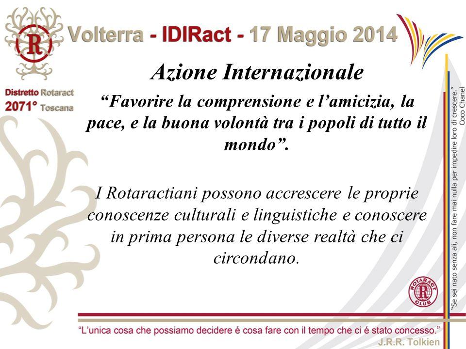 """Azione Internazionale """"Favorire la comprensione e l'amicizia, la pace, e la buona volontà tra i popoli di tutto il mondo"""". I Rotaractiani possono accr"""