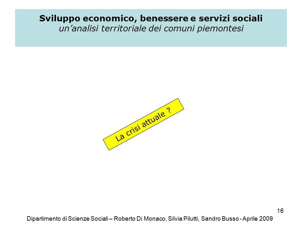 16 Sviluppo economico, benessere e servizi sociali un'analisi territoriale dei comuni piemontesi La crisi attuale .