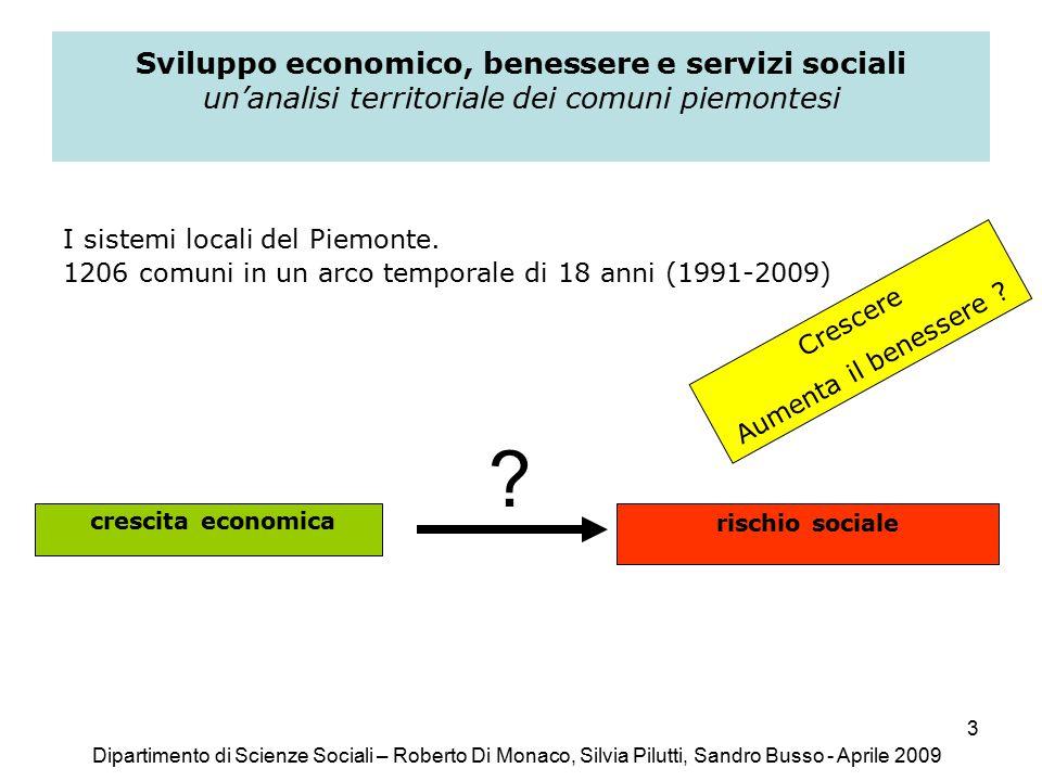 3 Sviluppo economico, benessere e servizi sociali un'analisi territoriale dei comuni piemontesi I sistemi locali del Piemonte.
