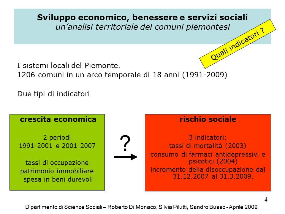 4 Sviluppo economico, benessere e servizi sociali un'analisi territoriale dei comuni piemontesi I sistemi locali del Piemonte.