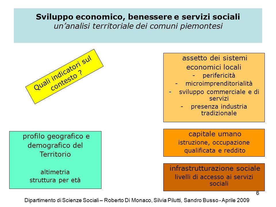 6 Sviluppo economico, benessere e servizi sociali un'analisi territoriale dei comuni piemontesi Quali indicatori sul contesto .