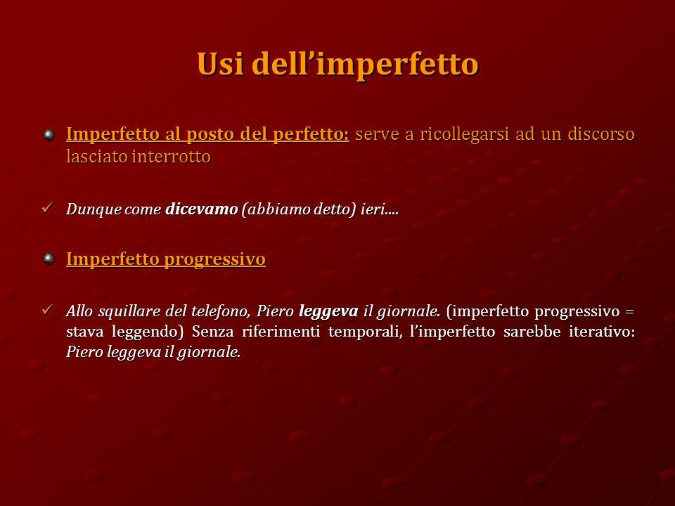 Usi dell'imperfetto Imperfetto al posto del perfetto: serve a ricollegarsi ad un discorso lasciato interrotto Dunque come dicevamo (abbiamo detto) ieri....