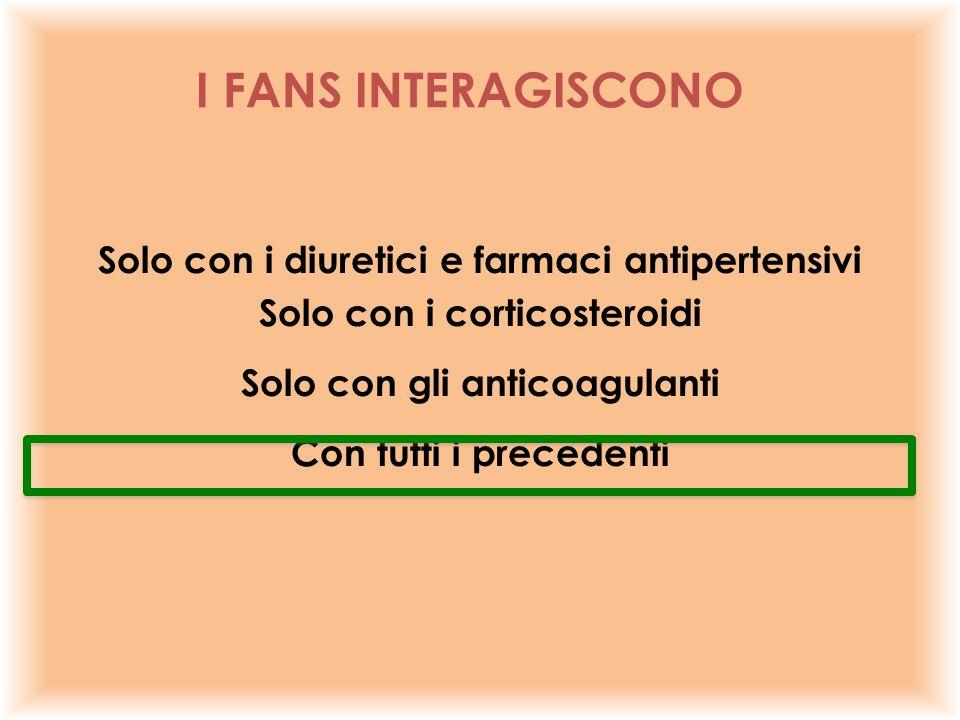 Solo con i diuretici e farmaci antipertensivi Solo con i corticosteroidi Solo con gli anticoagulanti Con tutti i precedenti I FANS INTERAGISCONO