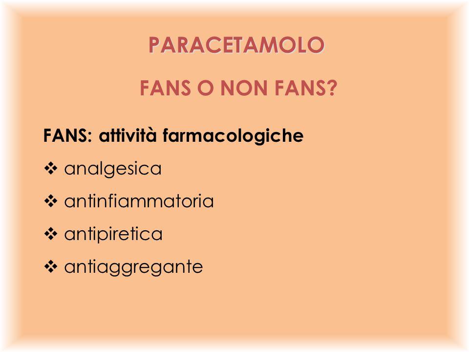 FANS: attività farmacologiche  analgesica  antinfiammatoria  antipiretica  antiaggregante FANS O NON FANS? PARACETAMOLO