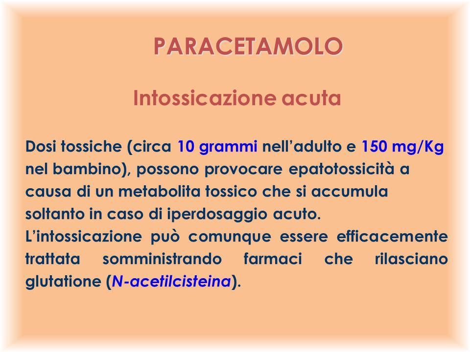 Dosi tossiche (circa 10 grammi nell'adulto e 150 mg/Kg nel bambino), possono provocare epatotossicità a causa di un metabolita tossico che si accumula