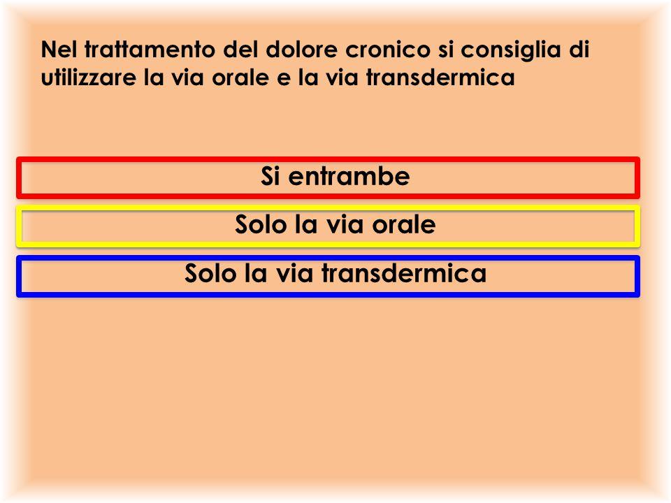 Nel trattamento del dolore cronico si consiglia di utilizzare la via orale e la via transdermica Si entrambe Solo la via orale Solo la via transdermic