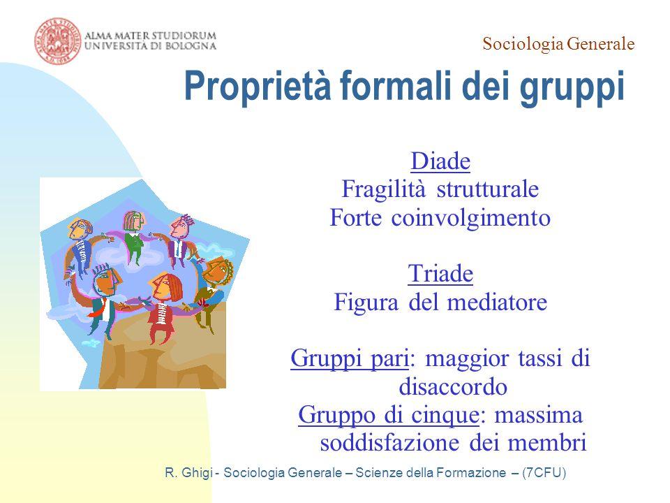 Sociologia Generale R. Ghigi - Sociologia Generale – Scienze della Formazione – (7CFU) Proprietà formali dei gruppi Diade Fragilità strutturale Forte