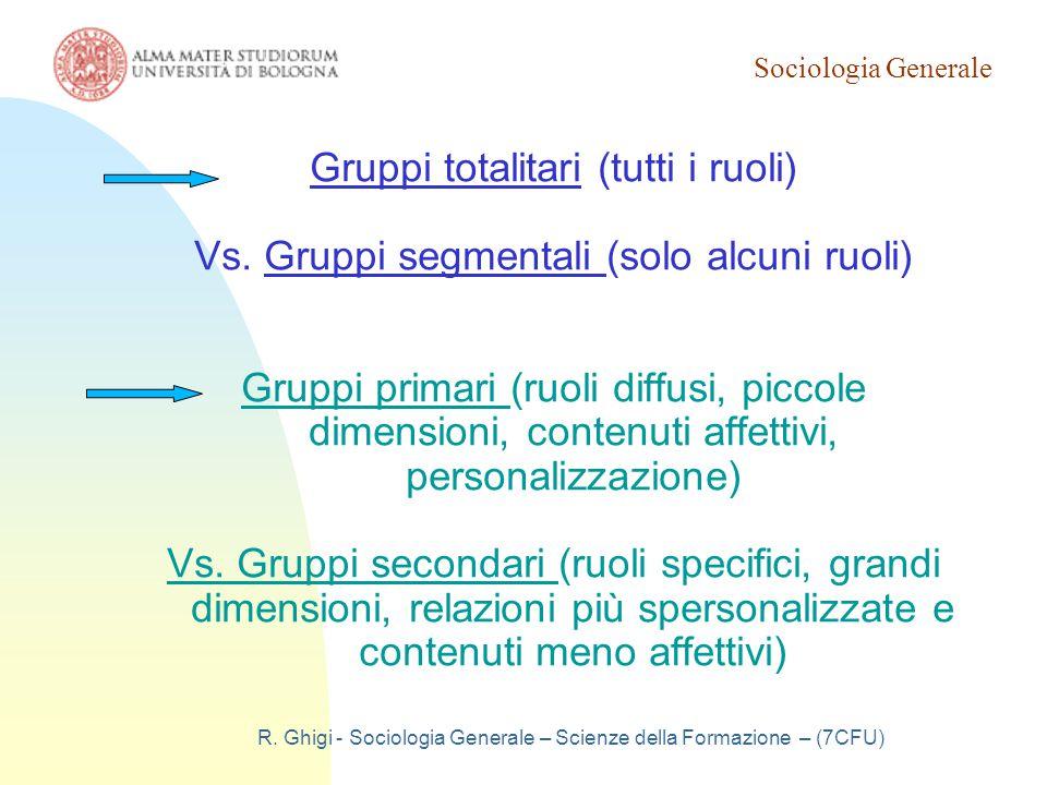 Sociologia Generale R. Ghigi - Sociologia Generale – Scienze della Formazione – (7CFU) Gruppi totalitari (tutti i ruoli) Vs. Gruppi segmentali (solo a