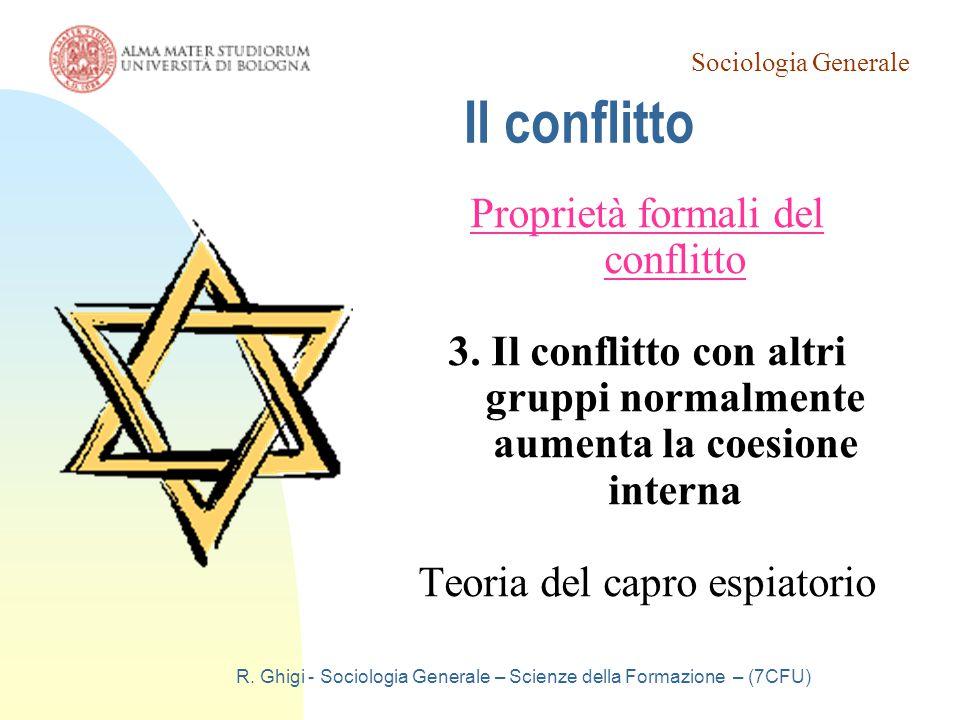 Sociologia Generale R. Ghigi - Sociologia Generale – Scienze della Formazione – (7CFU) Il conflitto Proprietà formali del conflitto 3. Il conflitto co