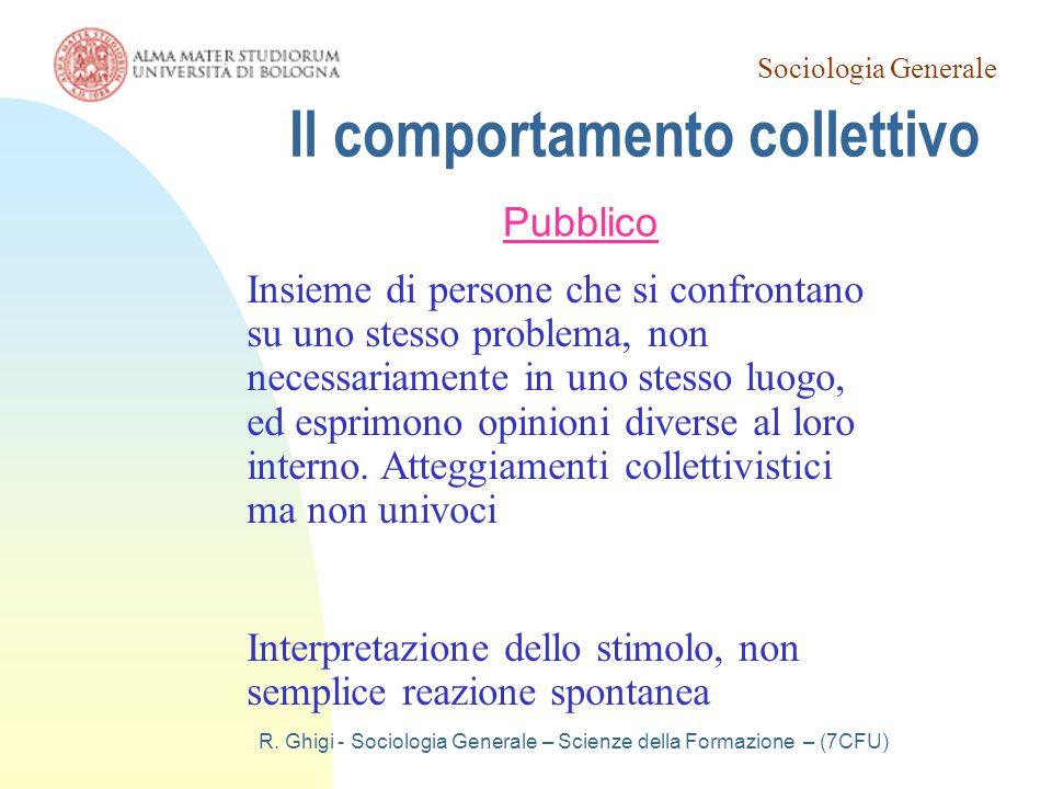 Sociologia Generale R. Ghigi - Sociologia Generale – Scienze della Formazione – (7CFU) Il comportamento collettivo Pubblico Insieme di persone che si