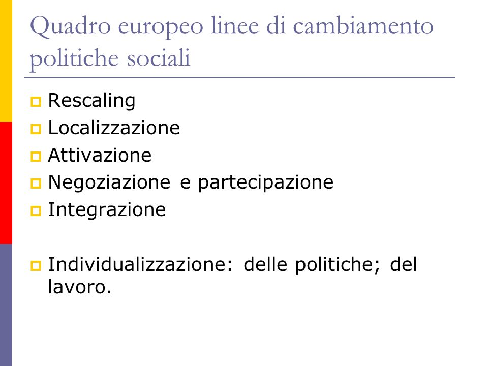Quadro europeo linee di cambiamento politiche sociali  Rescaling  Localizzazione  Attivazione  Negoziazione e partecipazione  Integrazione  Indi