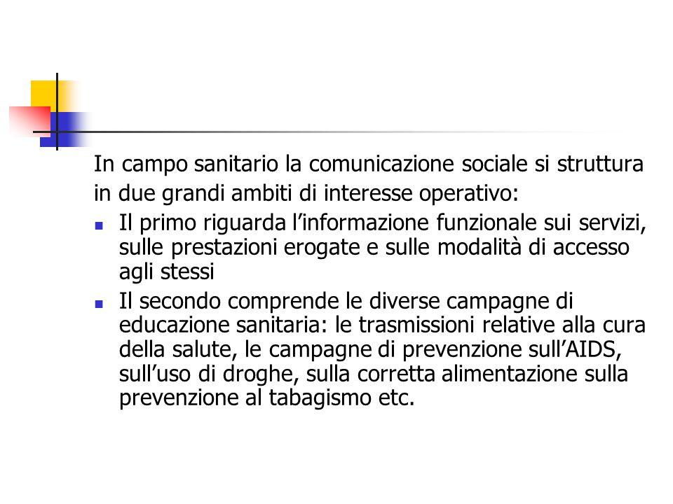 In campo sanitario la comunicazione sociale si struttura in due grandi ambiti di interesse operativo: Il primo riguarda l'informazione funzionale sui