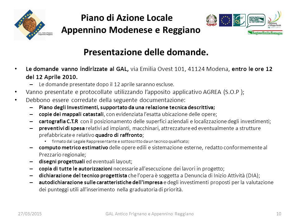 Piano di Azione Locale Appennino Modenese e Reggiano Presentazione delle domande.