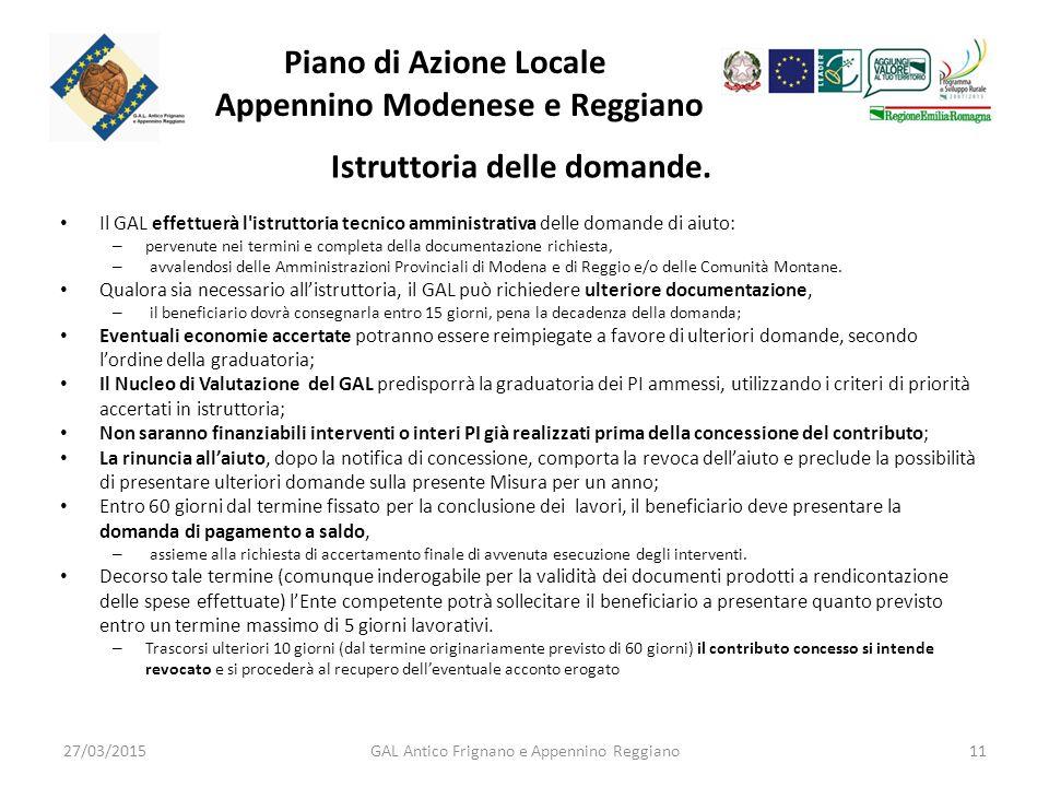 Piano di Azione Locale Appennino Modenese e Reggiano Istruttoria delle domande.