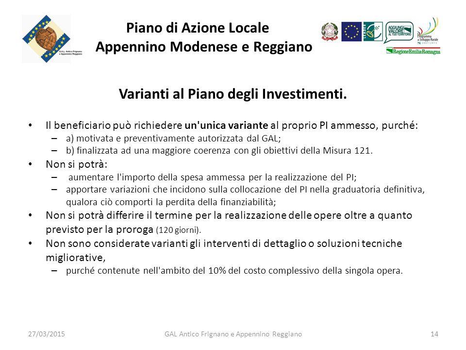 Piano di Azione Locale Appennino Modenese e Reggiano Varianti al Piano degli Investimenti.