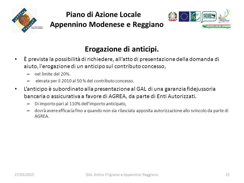 Piano di Azione Locale Appennino Modenese e Reggiano Erogazione di anticipi.