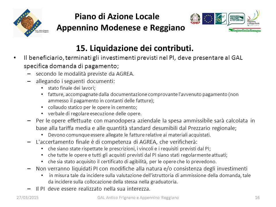 Piano di Azione Locale Appennino Modenese e Reggiano 15.