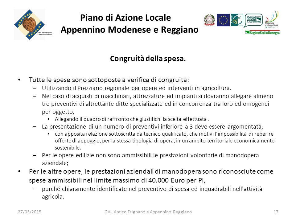 Piano di Azione Locale Appennino Modenese e Reggiano Congruità della spesa.