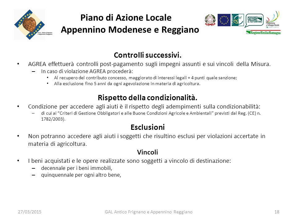 Piano di Azione Locale Appennino Modenese e Reggiano Controlli successivi.