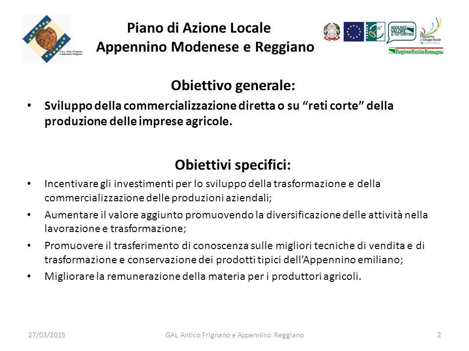 Piano di Azione Locale Appennino Modenese e Reggiano Obiettivo generale: Sviluppo della commercializzazione diretta o su reti corte della produzione delle imprese agricole.