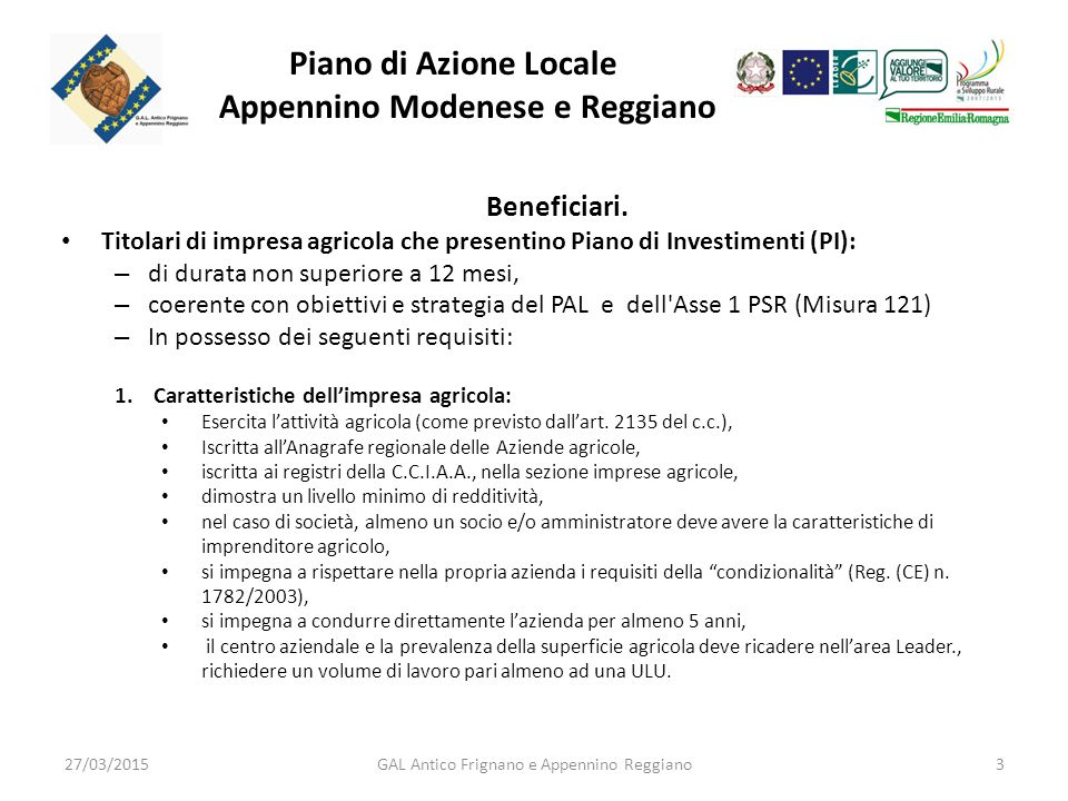 Piano di Azione Locale Appennino Modenese e Reggiano Beneficiari.