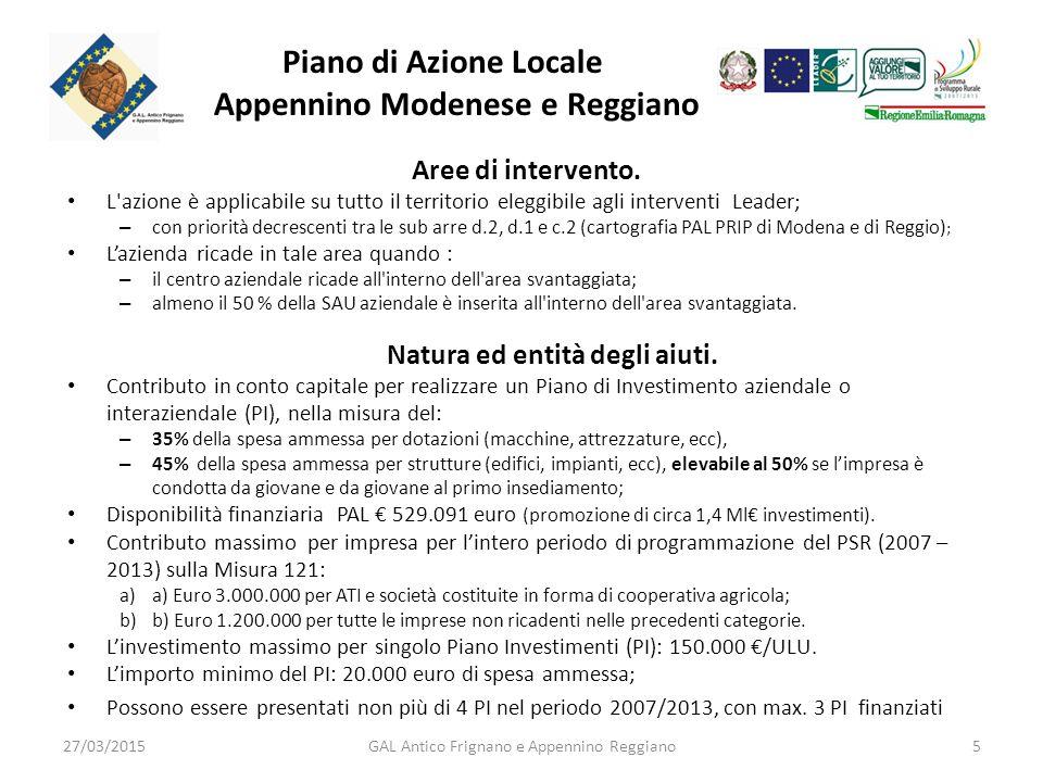 Piano di Azione Locale Appennino Modenese e Reggiano Aree di intervento.