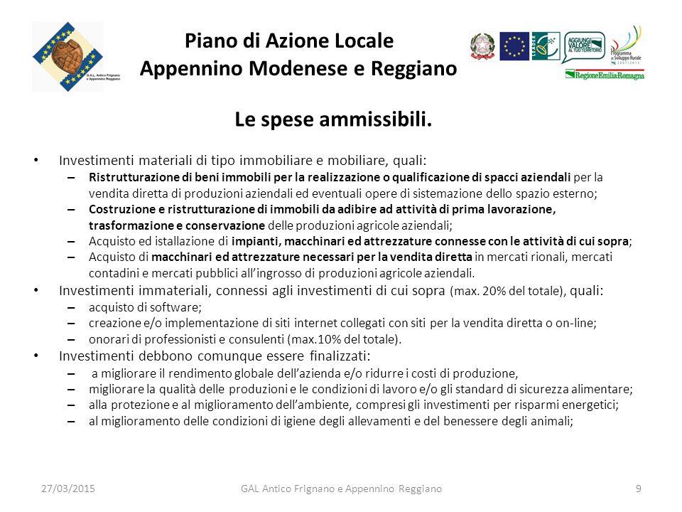 Piano di Azione Locale Appennino Modenese e Reggiano Le spese ammissibili.